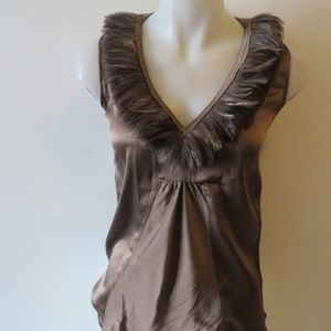 SONIA RYKIEL TAUPE FEATHER NECKLINE TANK TOP SZ S
